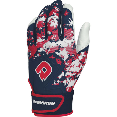 DeMarini Digi Camo II Adult Batting Gloves - Navy Scarlet Camo