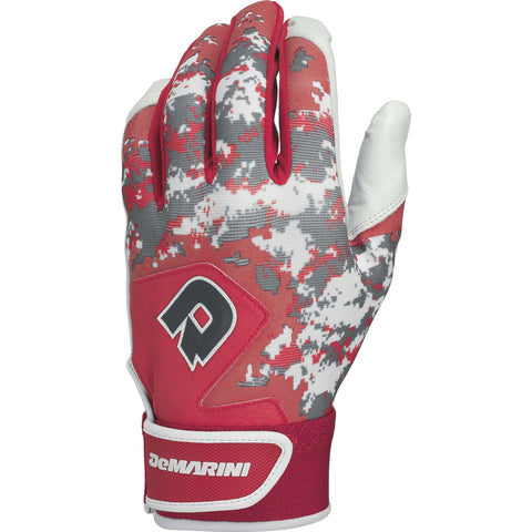 DeMarini Digi Camo II Adult Batting Gloves - Scarlet Camo