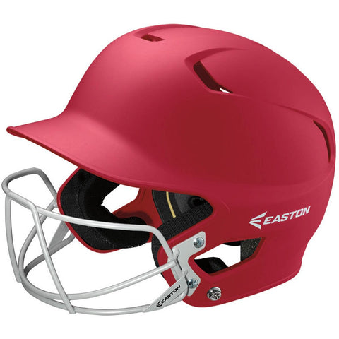 Easton Z5 Solid Batting Helmet with Baseball Facemask - Scarlet Red