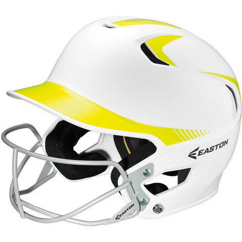 Easton Z5 Two-Tone Batting Helmet + Softball Facemask - White Neon