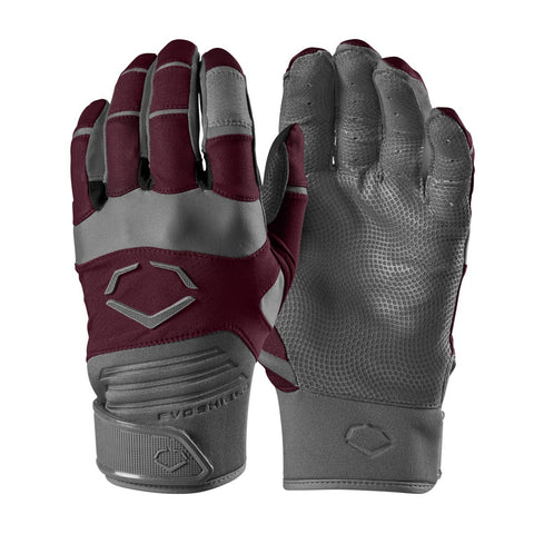 EvoShield Adult Evo Aggressor Batting Gloves - Maroon - Batting Gloves - Hit A Double