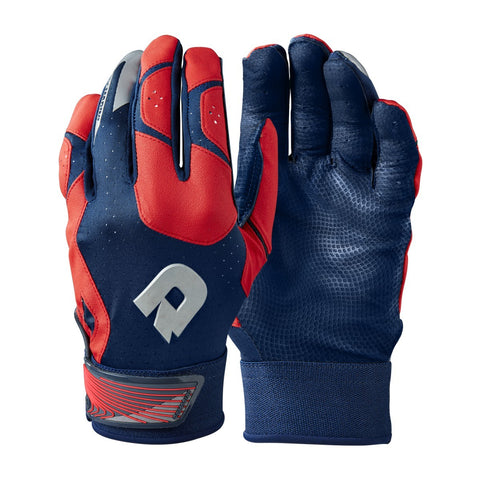 DeMarini CF Adult Batting Gloves - Navy Scarlet