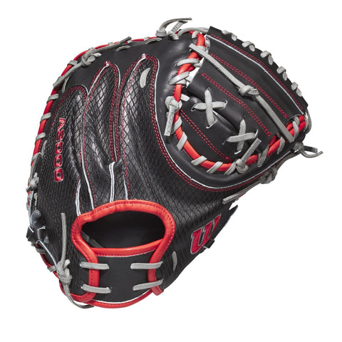 "Wilson 2020 A2000 Mitch Garver GOTM 34.00"" Catcher's Mitt WBW10025334 June 2020 - Black Red - HIT A Double"