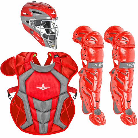 All-Star System 7 Certified NOCSAE Young Pro Catcher's Set (Ages 12-16) - Scarlet