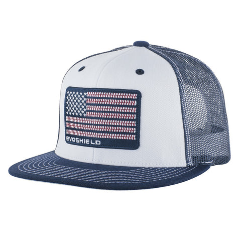 EvoShield Flag Patch Snapback Hat - White Navy