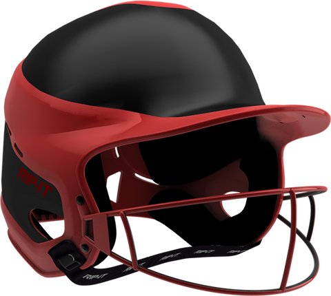 Rip-It Softball Vision Pro Helmet Away - Black Red