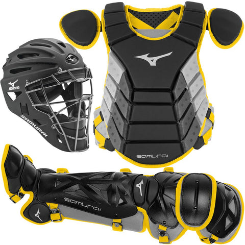 Mizuno Youth Samurai Box Set 380420 - Black Yellow - Catcher's Gear - Hit A Double - 1