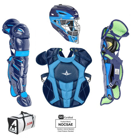 All-Star System 7 Certified NOCSAE Young Pro Catcher's Set (Ages 12-16) - Navy Sky Blue