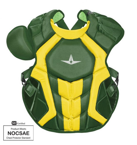 "All-Star Youth System 7 Axis Elite Pro Catcher's Chest Protector 14.5"" (Ages 9-12) - Dark Green Gold"