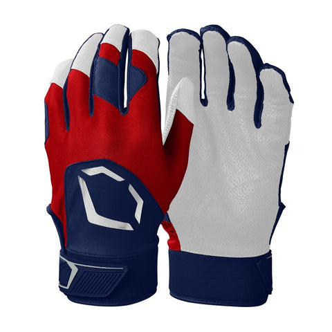 EvoShield Adult Evo Standout Batting Gloves - Navy Scarlet - HIT A Double
