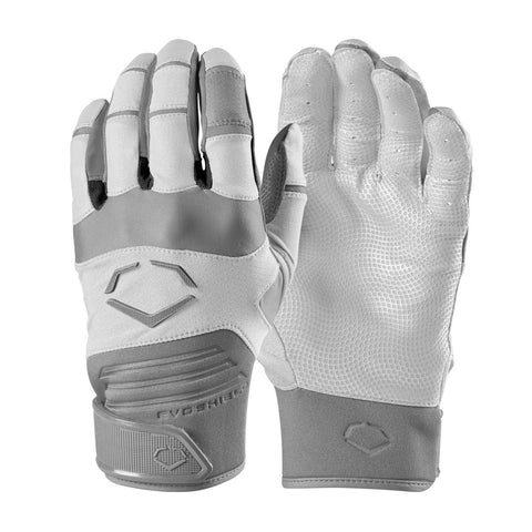 EvoShield Youth Evo Aggressor Batting Gloves - White - Batting Gloves - Hit A Double