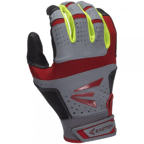 Easton HS9 Adult Batting Glove - Gray Red Neon Yellow
