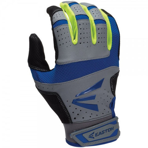 Easton HS9 Adult Batting Glove - Gray Royal Neon Yellow