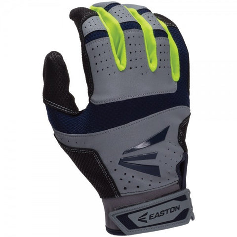 Easton HS9 Adult Batting Glove - Gray Navy Neon Yellow