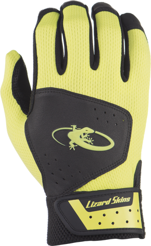 Lizard Skins Komodo Youth Batting Gloves - Black Neon - Batting Gloves - Hit A Double