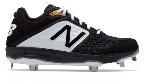 New Balance 3000v4 Fresh Foam Metal Cleats Low Cut - Black White