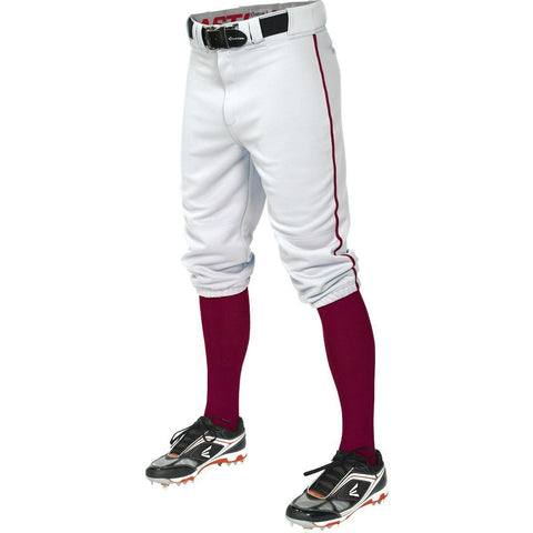 Easton  Pro+ Piped Knicker Baseball Pant - White Maroon - Baseball Apparel - Hit A Double