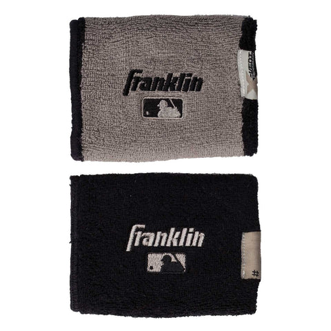 "Franklin MLB X-Vent Reversible Wristband 4"" - Black Gray"