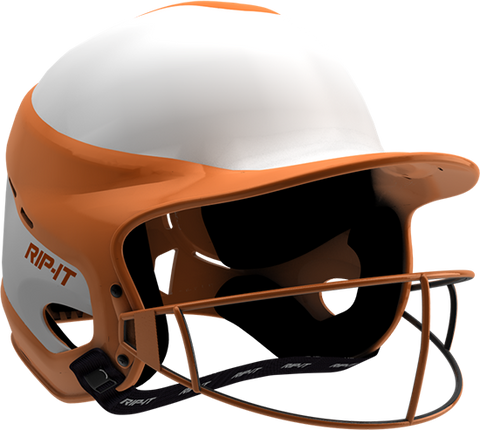 Rip-It Softball Vision Pro Helmet Home - White Orange