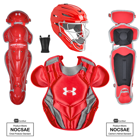 Under Armour Converge Victory Series UACKCC4-YVS 7-9 Yr Catcher's Kit - Scarlet - HIT A Double