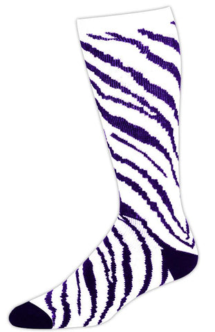 Pizzazz Zebra Stripe Knee High Socks - White Purple Zebra