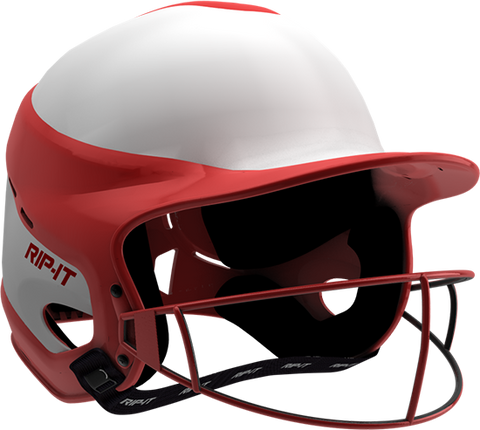 Rip-It Softball Vision Pro Helmet Home - White Red