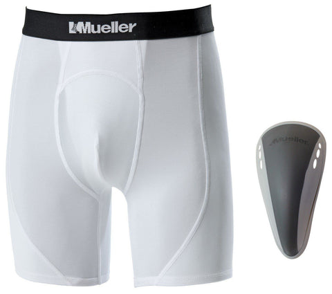 Mueller Adult Athletic Support Brief with Flex Shield Cup - Gray