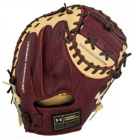 "Under Armour Genuine Pro Series 34.00"" Catcher's Mitt - Cherry Cream - Baseball Gloves - Hit A Double - 1"