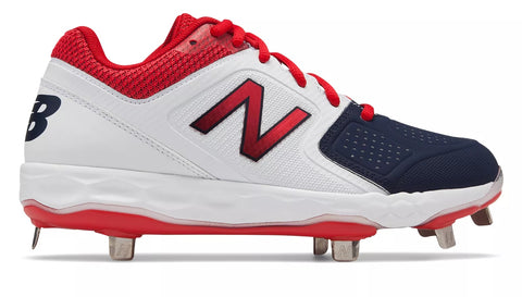 New Balance SMVELOv1 Fastpitch Metal Cleat Low-Cut - White Navy Red