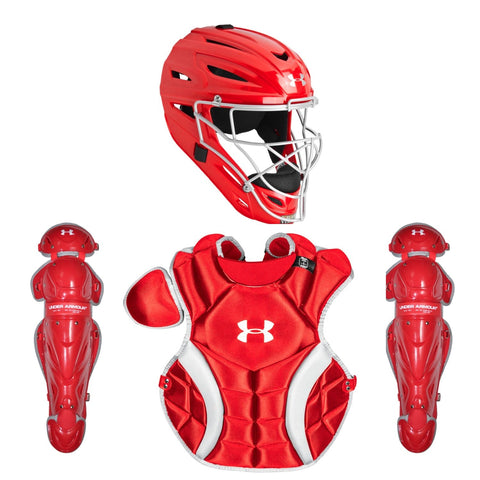 Under Armour PTH Victory Series UACKCC2-YVS Youth 7-9 Yr Catcher's Kit - Scarlet - Catcher's Gear - Hit A Double - 1