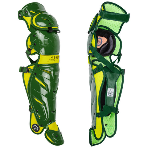 "All-Star Youth System 7 Axis Elite Pro Catcher's Leg Guards 13"" (Ages 9-12) - Dark Green Gold"
