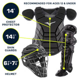 Mizuno Youth Samurai Box Set 380420 - Black Yellow - Catcher's Gear - Hit A Double - 2