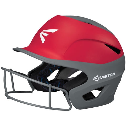 Easton Prowess Fastpitch Helmet Two Tone with Mask - Charcoal Red