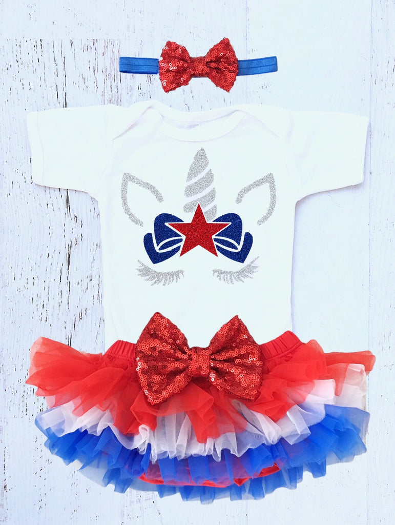 4dd6f7b37ad3 Baby Girls 4th of July Unicorn Outfit – The Sassy Tot