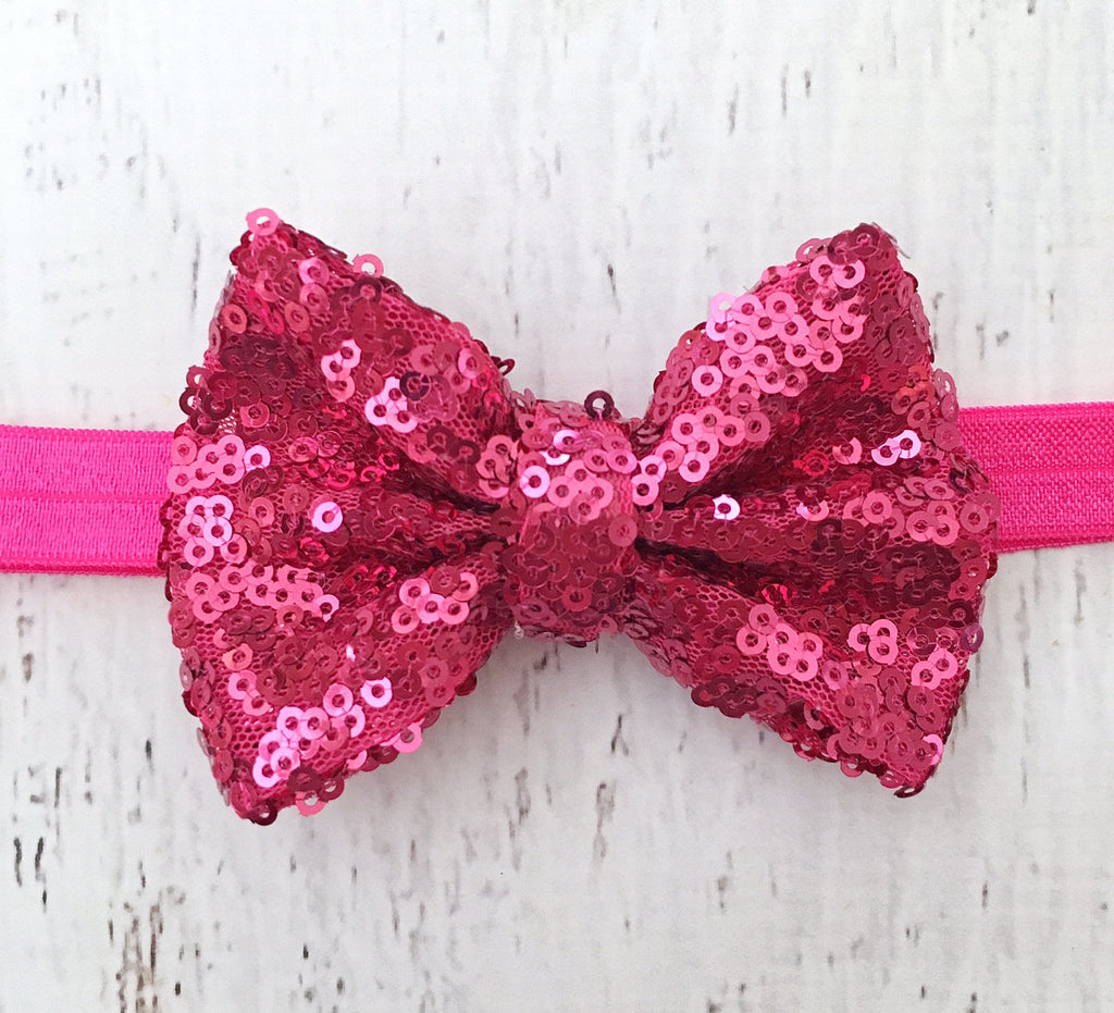 Hot Pink Sequin Bow Headband – The Sassy Tot 9804d6a2702