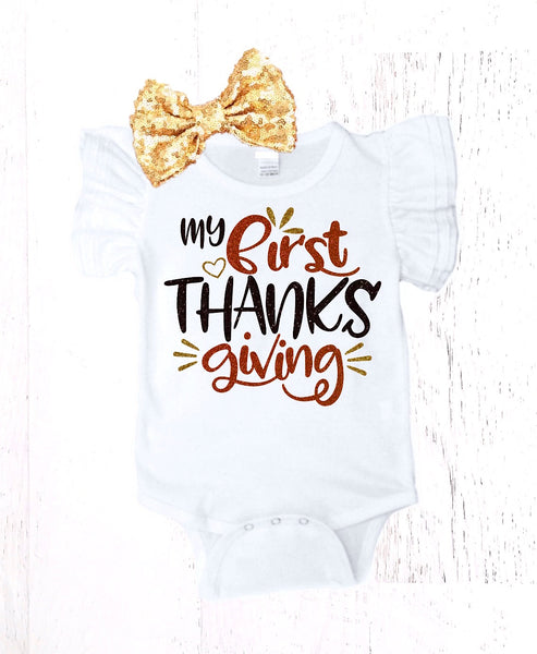 130b0e7c8caeb Girls Personalized First Thanksgiving Outfit. From $ 45.95 · My 1st Thanksgiving  Onesie with Ruffle Sleeves