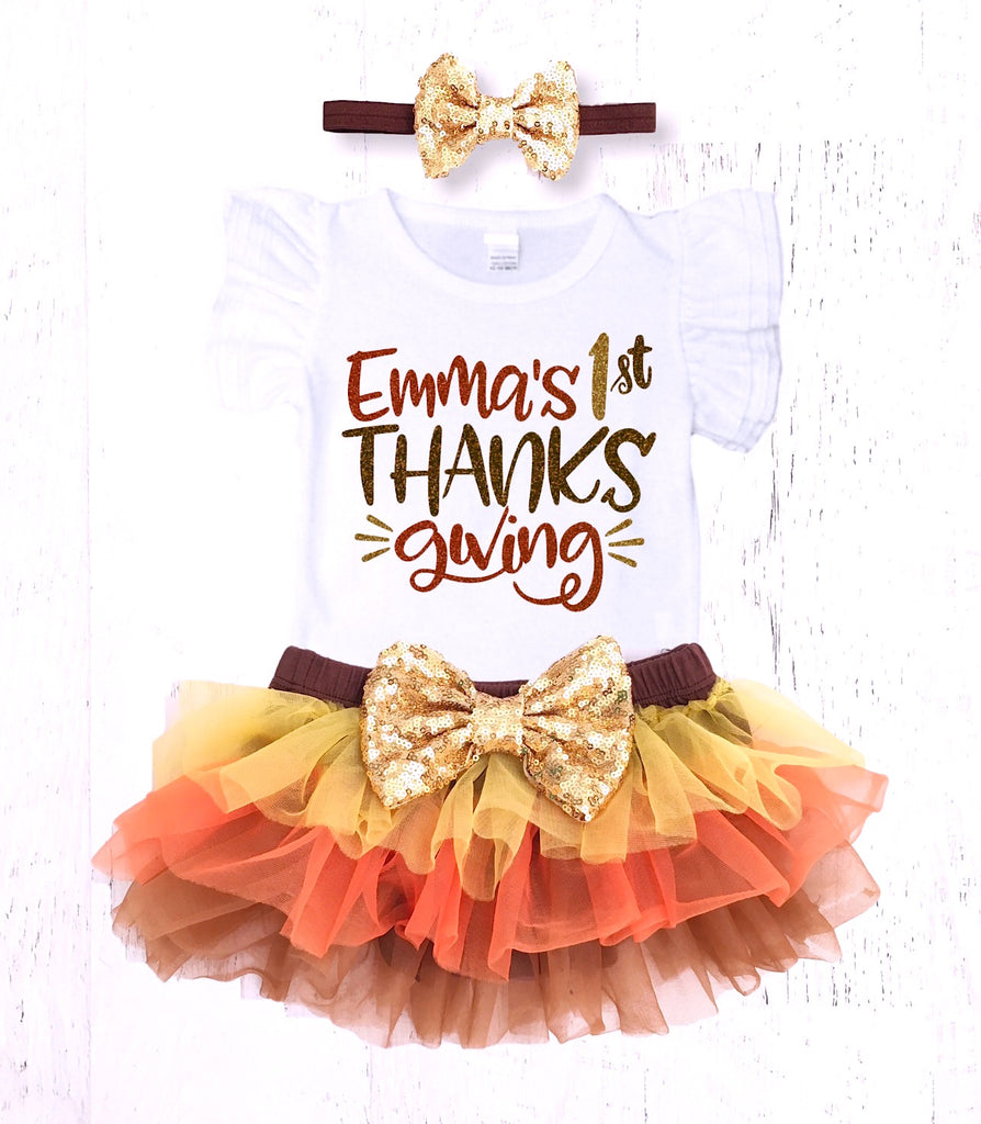 a1a30cb783d92 Baby Girls Personalized First Thanksgiving Outfit – The Sassy Tot