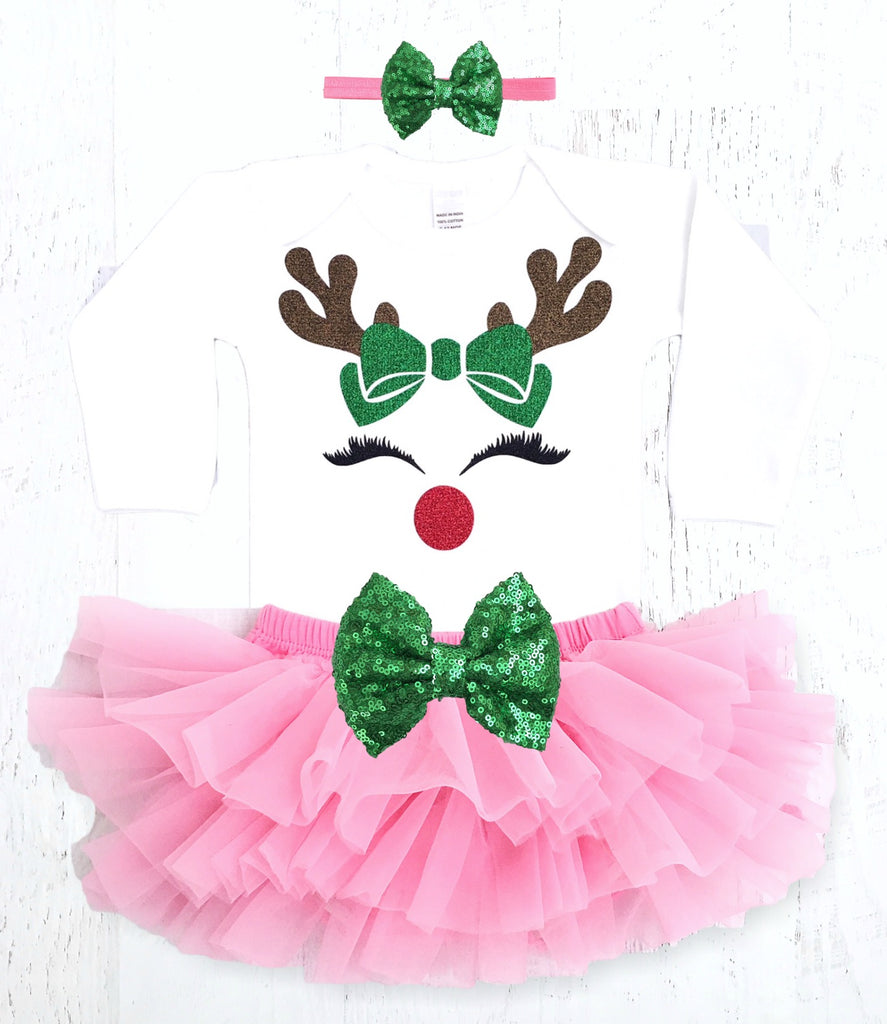 Pink Baby Girls Reindeer Christmas Outfit – The Sassy Tot