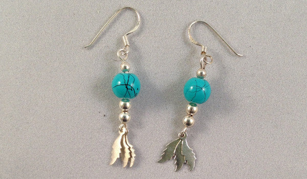 Turquoise & feather dangle