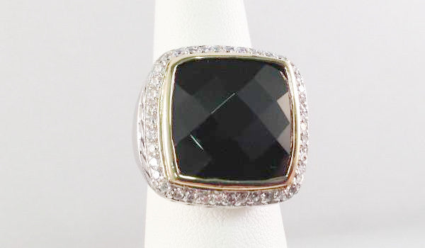 Black cz with halo