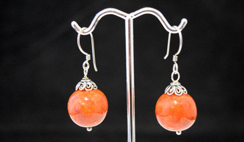Red Coral Ball Dangle