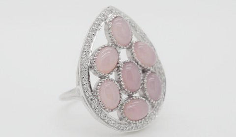 Rose Quartz Cluster Ring