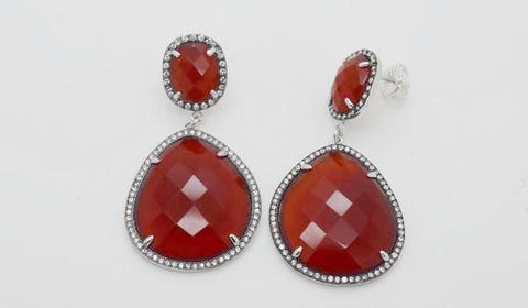 Garnet Halo Earrings