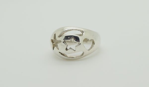 Star and Heart Cutout Ring