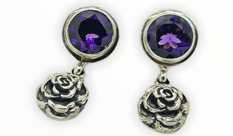 Amethyst Flower Earring
