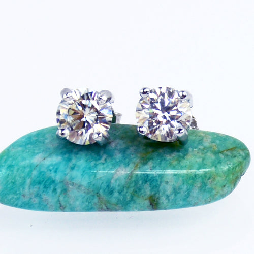 1Carat White Moissanite Diamond Studs - 6Grape Fine Jewelry