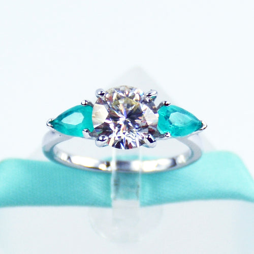 2CT Moissanite Blue Pear Paraiba Three Stone Ring - 6Grape Fine Jewelry