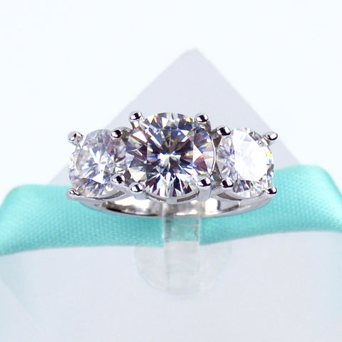 4CT 3Stone Moissanite Ring - 6Grape Fine Jewelry