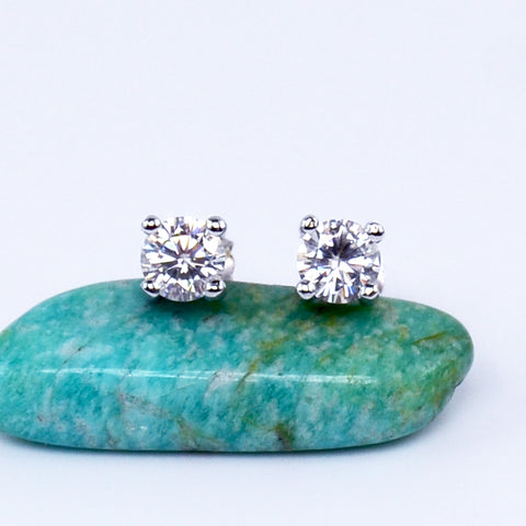 Half Carat White Moissanite Diamond Studs - 6Grape Fine Jewelry