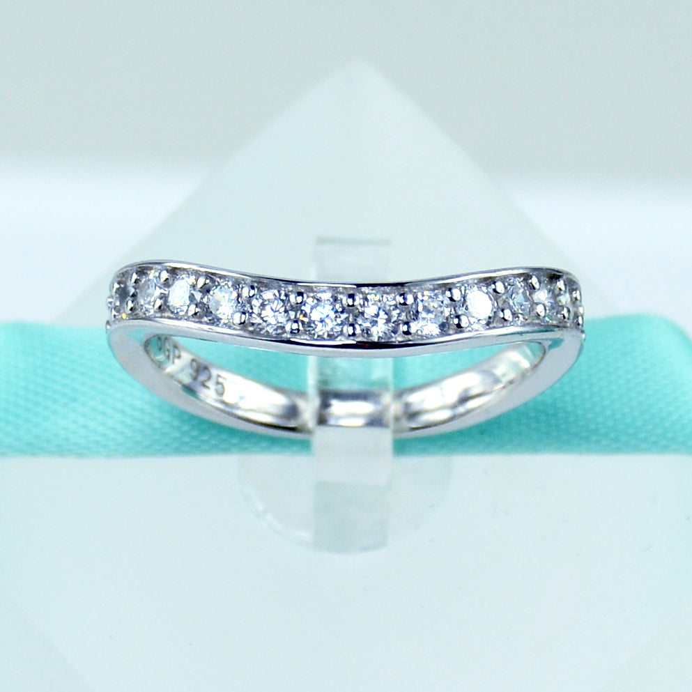women cubic engagement sterling round s wedding band rings cut ring zirconia infinity bands silver